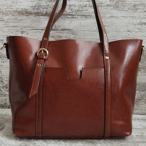 ⚄Enimoe Brown Leather Shopper Tote